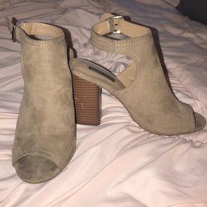 Beige suede leather booties